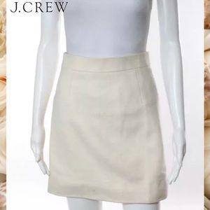 J CREW Chic Ivory Wool A-Line Skirt